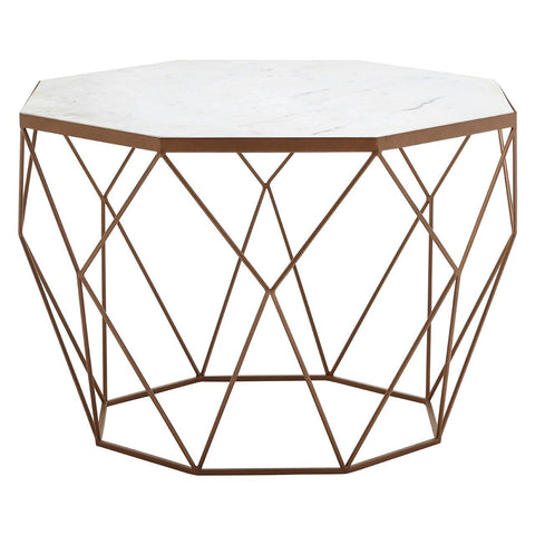 Homelia Shalimar Side Table In White Marble & Gold