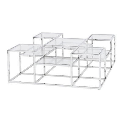 Libra Clear Glass Steel Coffee Table-Libra-Olivia's