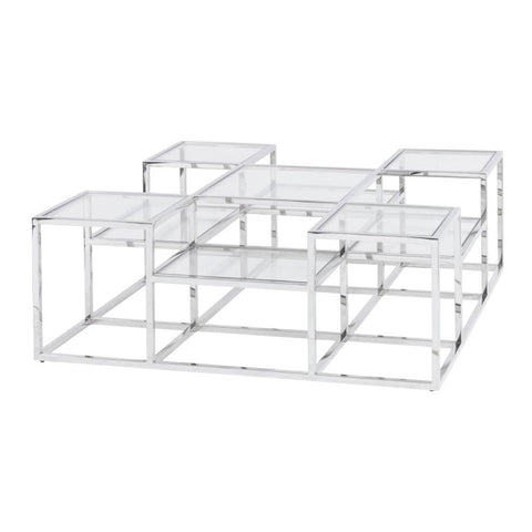 Libra Clear Glass Steel Coffee Table