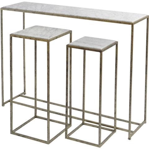 Libra Mylas Console Table In Gold Finish With Marble Top