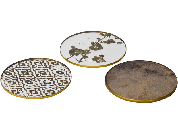Libra Vienna Antique Gold Set of 4 Atlas Coasters-Libra-Olivia's