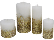 Libra White Candle With Textured Gold Base 7x12-Libra-Olivia's