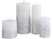 Libra White Candle With Textured Silver Base 10x10-Libra-Olivia's
