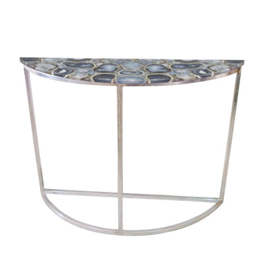 Libra Agate Crescent Console Table On Nickel Frame-Libra-Olivia's