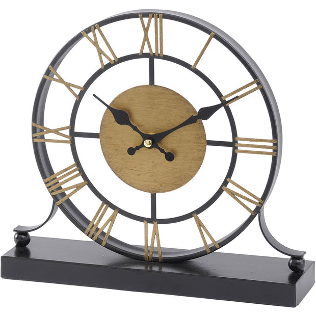 Black and Antique Brass Skeleton Mantel Clock-Libra-Olivia's
