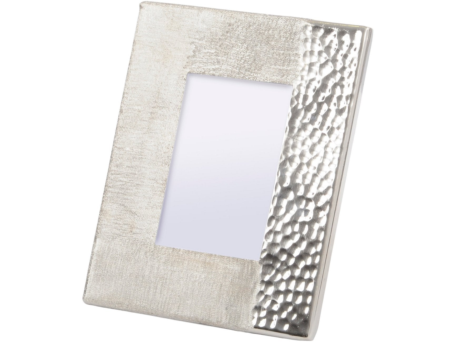 Libra Fuse Hammered and Brushed 4X6 Inch Photo Frame in Silver Finish
