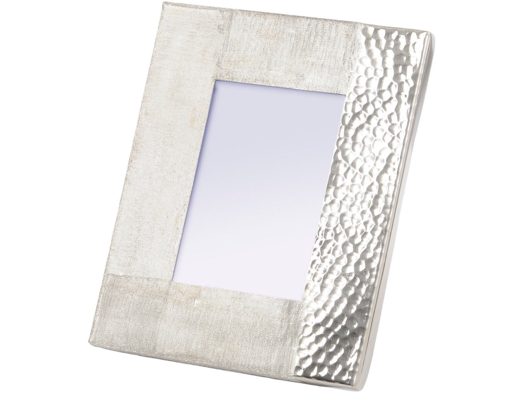 Libra Fuse Hammered and Brushed 5X7 Inch Photo Frame in Silver Finish