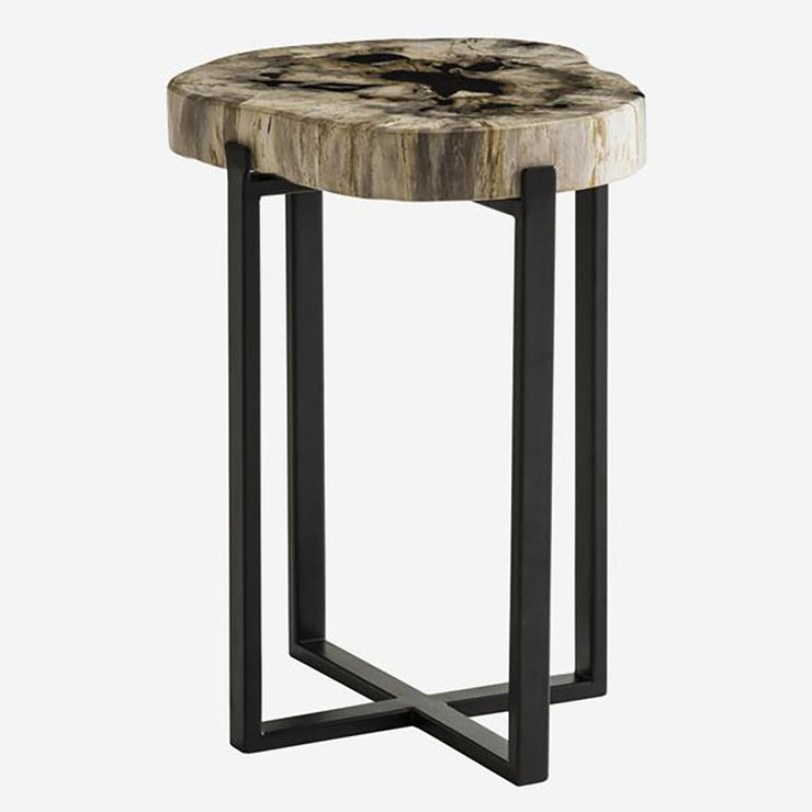 Andrew Martin Petrified Wood & Metal Lamp Table