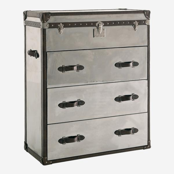 Andrew Martin Steel & Leather Chest of Drawers-AndrewMartin-Olivia's