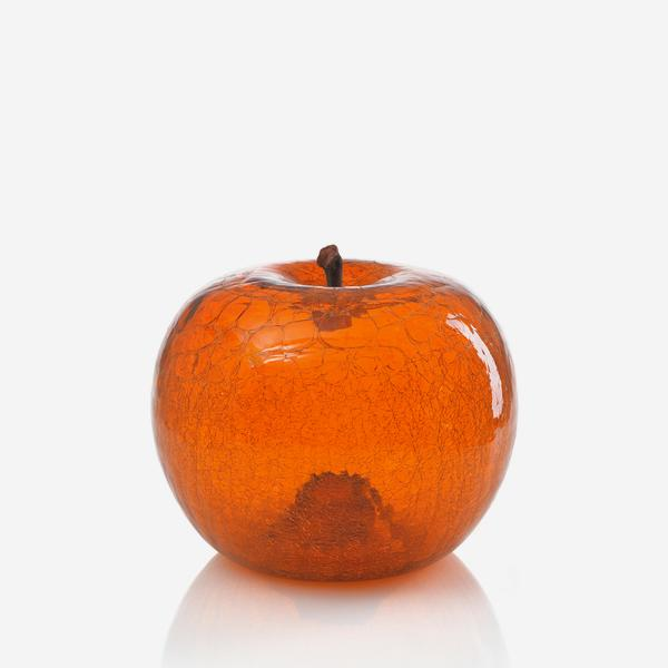 Andrew Martin Amber Crackled Apple Sculpture