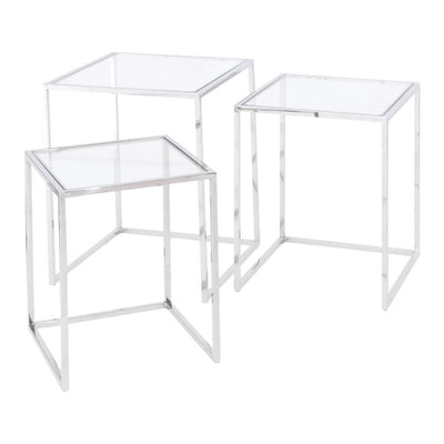 Libra Linton Steel & Glass Set Of 3 Nesting Tables