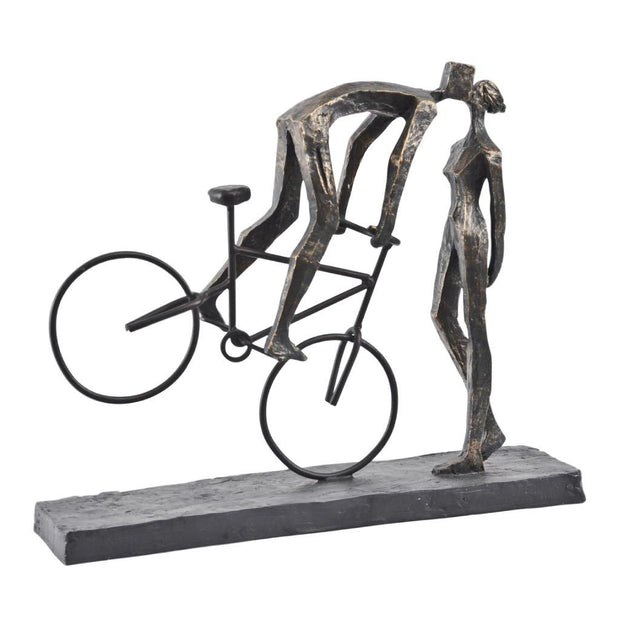 Libra Antique Bronze Kissing Couple On Bike Sculpture-Libra-Olivia's