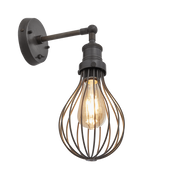 Industville Brooklyn Balloon Cage Wall Light - 6 Inch - Pewter