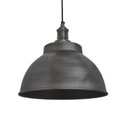 Brooklyn Dome Pendant - 13 Inch - Pewter-Industville-Olivia's