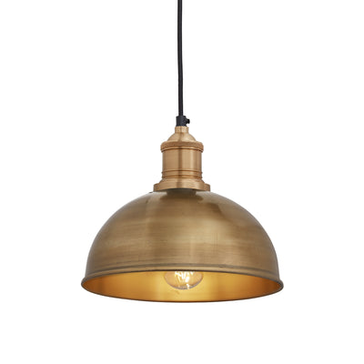 Brooklyn Dome Pendant - 8 Inch - Brass-Industville-Olivia's