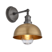 Brooklyn Outdoor & Bathroom Dome Wall Light - 8 Inch - Brass-Industville-Olivia's