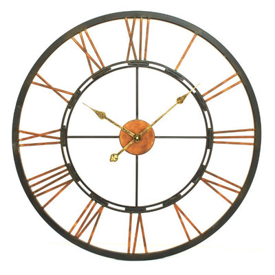Libra Metal Black & Gold Skeletal Wall Clock