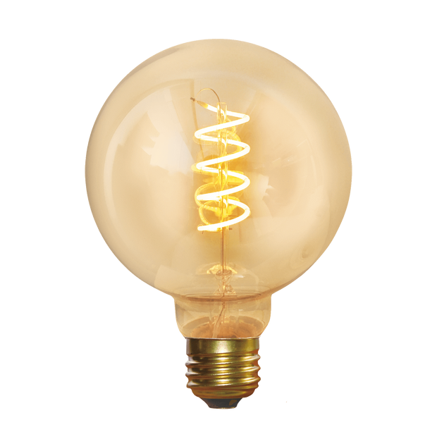 Industville Vintage Spiral LED Edison Bulb Old Filament Lamp - 5W E27 Small Globe G95 - Amber