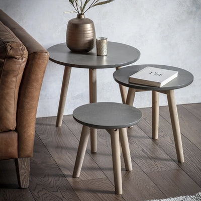 Hudson Living Bergen Scandi Nest of 3 Tables in Grey