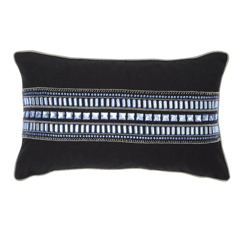 Libra Halcyon Black And Blue Rectangular Cushion 50x30cm