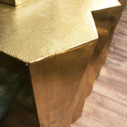 Libra Gold Brass Embossed Metal Console Table-Libra-Olivia's