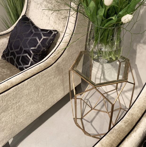 Libra Platonic Geometric Gold & Glass Side Table-Libra-Olivia's