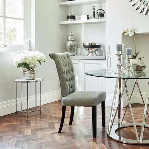 Libra Jansen Light Grey Buttonback Dining Chair