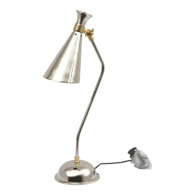 Libra Enza Nickel And Brass Conical Desk Lamp E27 25W 1