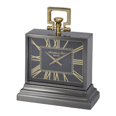 Libra Latham Small Black And Gold Aluminium Rectangular Clock-Libra-Olivia's
