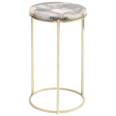 Libra Agate Round Side Table on Brass Frame
