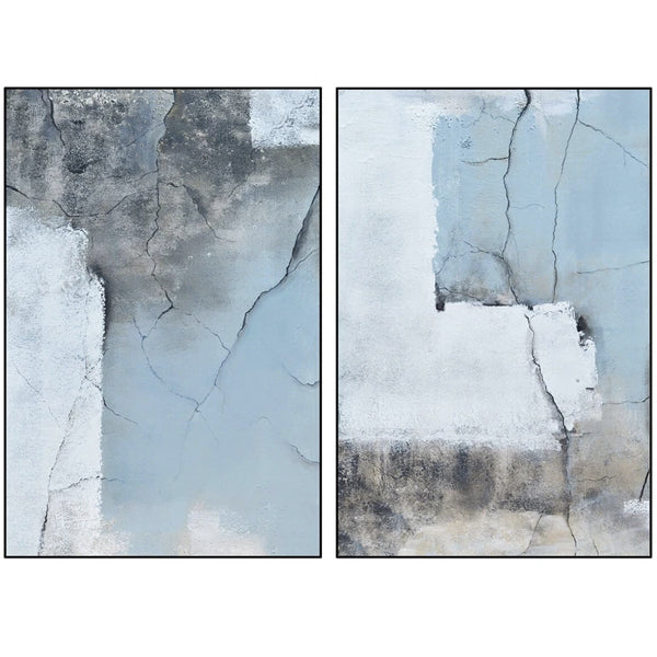 Liang & Eimil Set of 2 Rustic Blue Oil Painting Canvas-LiangAndEimil-Olivia's