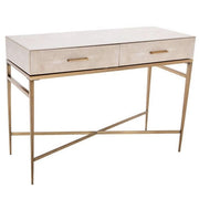 RV Astley Esta 2 Drawer Biscuit Shagreen Console-RVAstley-Olivia's