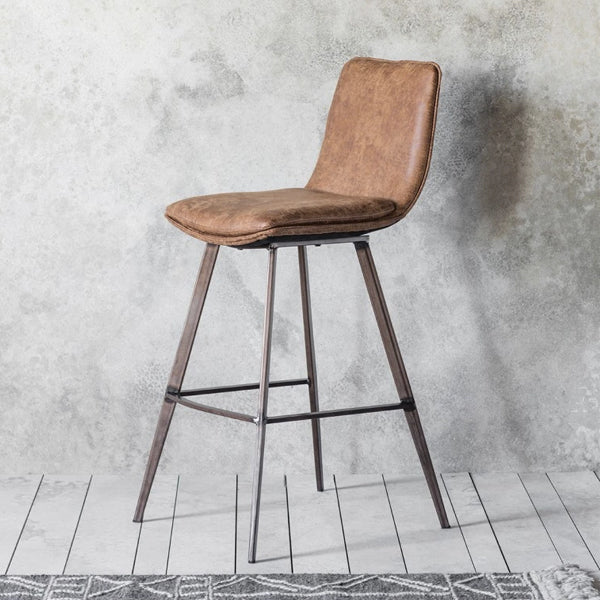 Gallery 2x Palmer Brown Leather Bar Stool-GalleryDirect-Olivia's