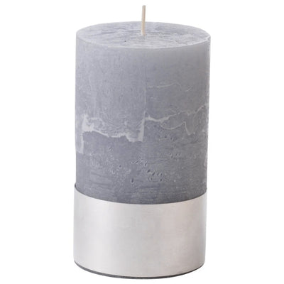 Libra Light Grey Rustica Pillar Candle 7x12cm-Libra-Olivia's