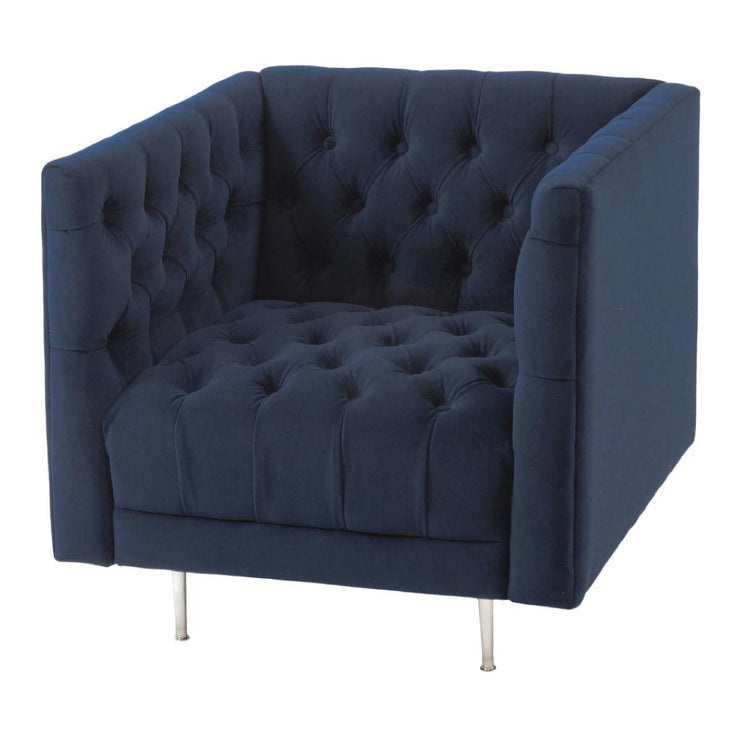Libra Arya Blue Velvet Button Detail Occasional Chair-Libra-Olivia's