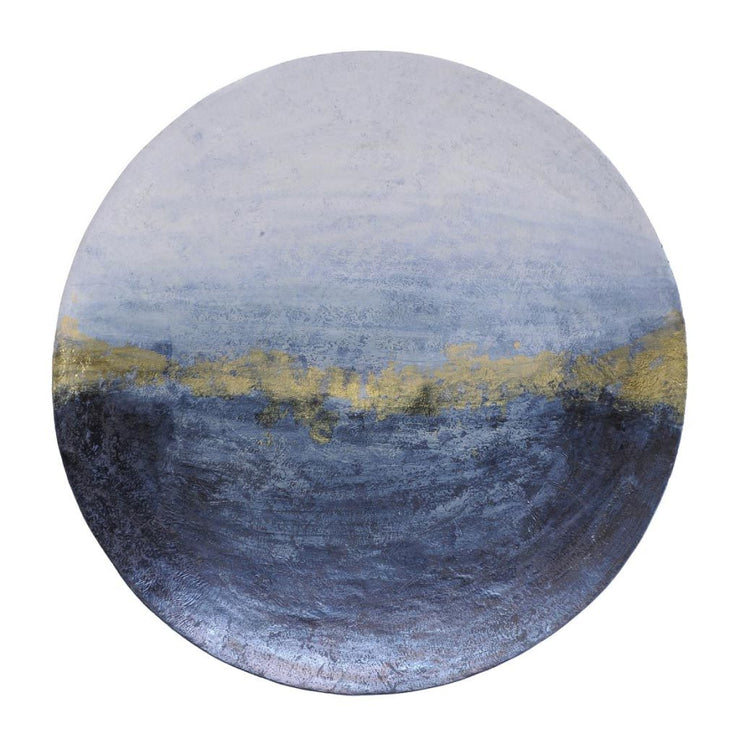 Libra Blue And Gold Abstract Iron Wall Disc Large