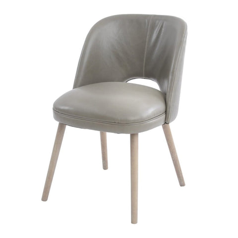 Libra Helix Green Leather Dining Chair