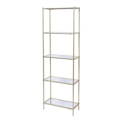 Libra Mylas Five Tier Shelving Unit With Mirrored Panels-Libra-Olivia's