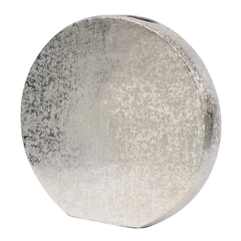Libra Small Brushed Silver Decorative Aluminium Disc Vase