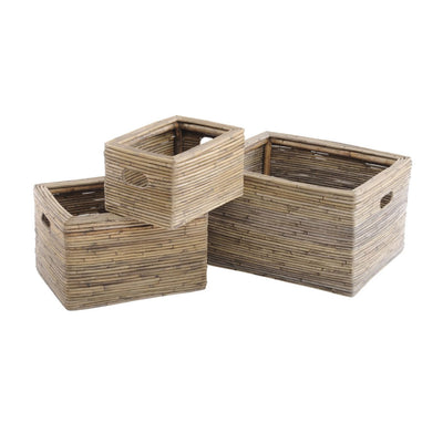 Libra Toba Set Of Three Rectangular Baskets