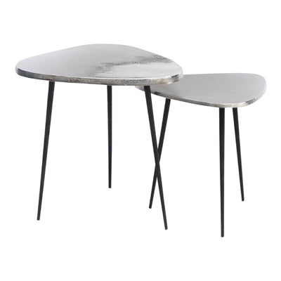 Libra Tribeca Set Of Two Silver Aluminium Side Tables