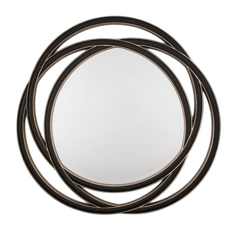 RV Astley Dove Round Mirror In Walnut And Champagne Silver