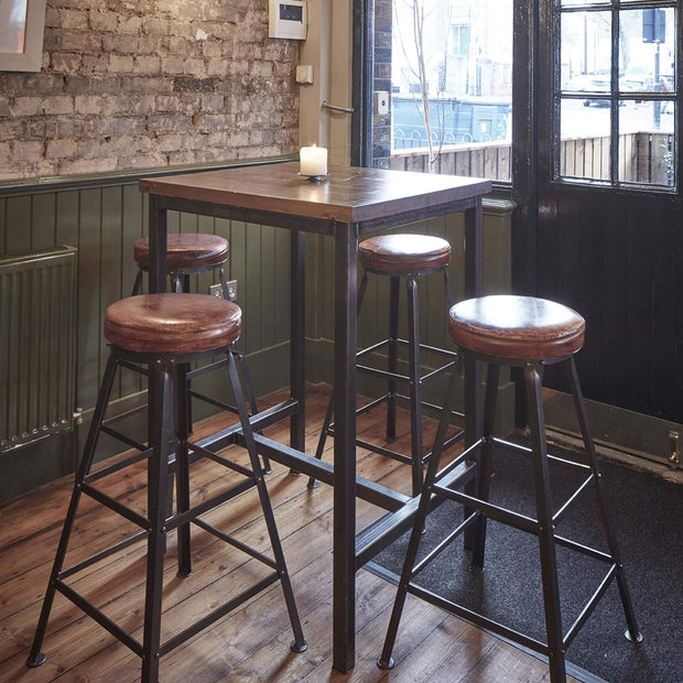 Industville Tall Real Leather & Metal Work Bar Stool - 32 inch
