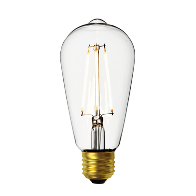 Industville Vintage LED Edison Bulb Old Filament Lamp - 7W E27 Pear ST64 - Clear