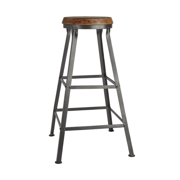 Industville Tall Solid Wood & Metal Work Bar Stool - 32 Inch