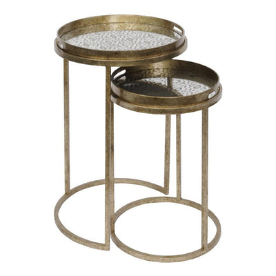 Libra Vienna Antique Gold Diamond Set Of 2 Side Tables