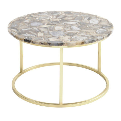 Libra Agate Round Coffee Table on Brass Frame