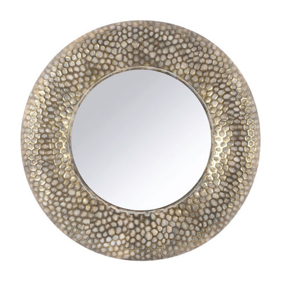 Libra Antique Gold Round Honeycomb Mirror-Libra-Olivia's