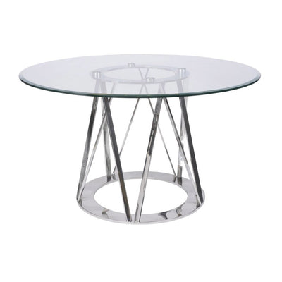 Libra Linton Stainless Steel & Glass 4 Seater Round Dining Table-Libra-Olivia's