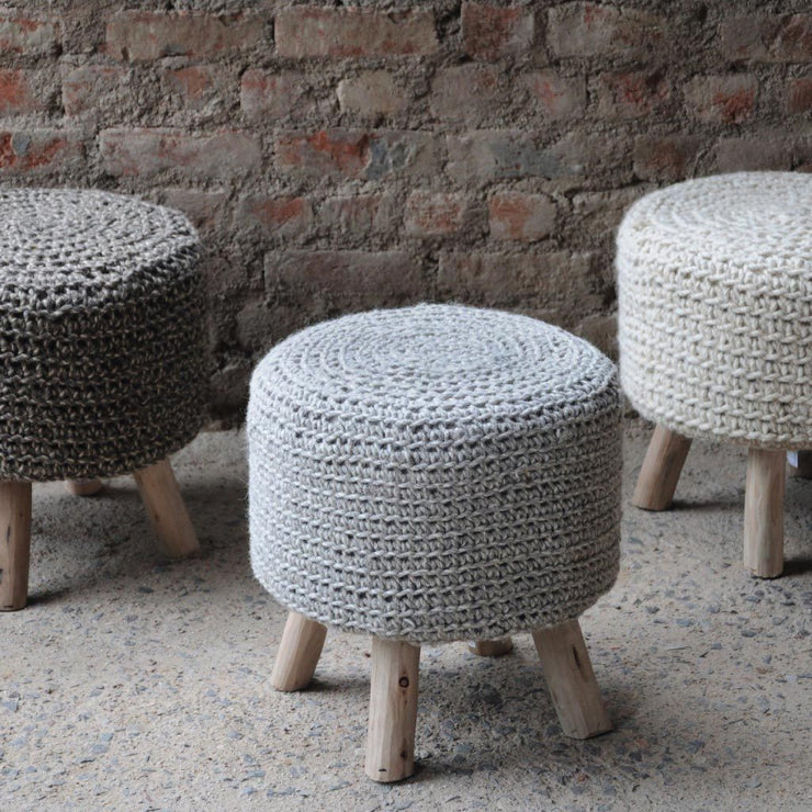 Libra Nomad Stone Grey Knitted Stool